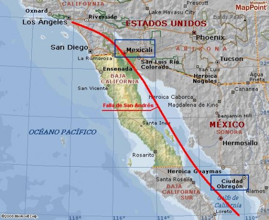 Falla de San Andres_mapa
