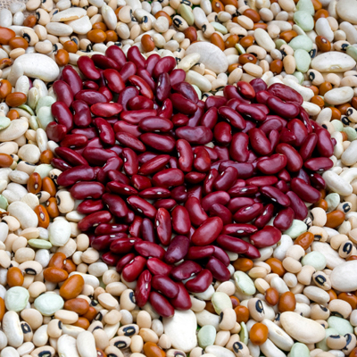 Heart shape symbol made from kidney beans