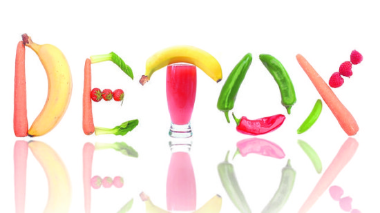 Detox text letters including fruit, vegetables and a smoothie beverage